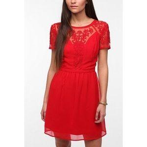 UO Kimchi Blue Emma Crepe Red Dress Size 4